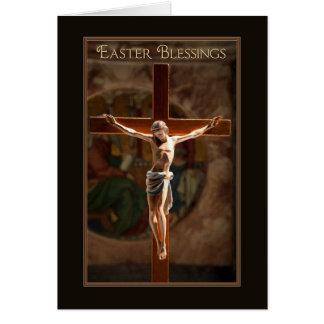 Cartão Crucifixo pintado bênção da páscoa