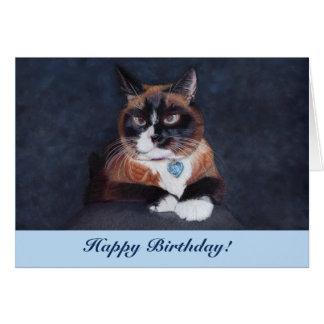 Cartão Cruz adorável gato Eyed
