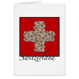 Cartão Cruz de Edelweiss do suíço