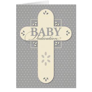 Cartão Cruz do creme & das cinzas da dedicação do bebê