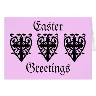 Cartão Cruz gótico do cemitério e rosa da páscoa do