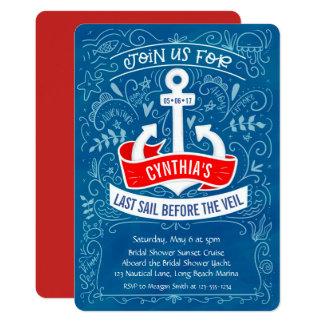 Cartão Cruzeiro náutico do chá de panela da âncora