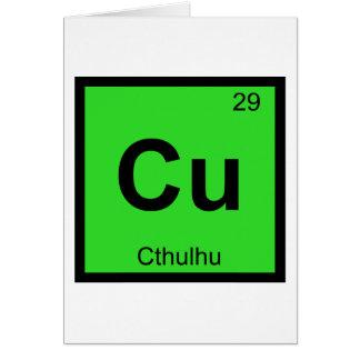 Cartão Cu - símbolo da mesa periódica da química de
