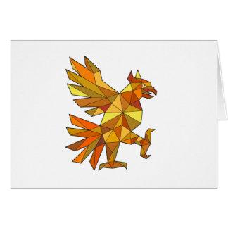 Cartão Cuauhtli Glifo Eagle que luta o baixo polígono da
