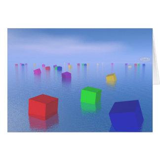Cartão Cubos coloridos que flutuam - 3D rendem