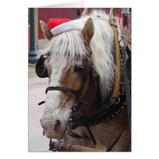 Cartão Cumprimento belga do Natal do cavalo de esboço