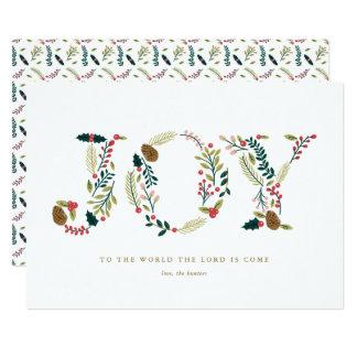 Cartão Cumprimento botânico do Natal da alegria