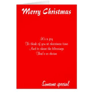 Cartão Cumprimento cartão-alguém do Natal especial