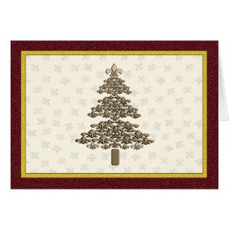 Cartão Cumprimento da árvore de Natal da flor de lis
