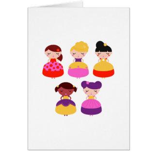 Cartão Cumprimento de papel com princesa pequena