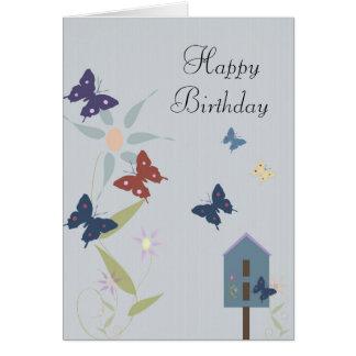 Cartão Cumprimento do aniversário da borboleta