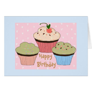 Cartão Cumprimento do aniversário do cupcake