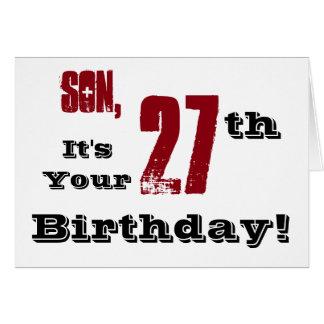 Cartão Cumprimento do aniversário do filho 27o em preto,