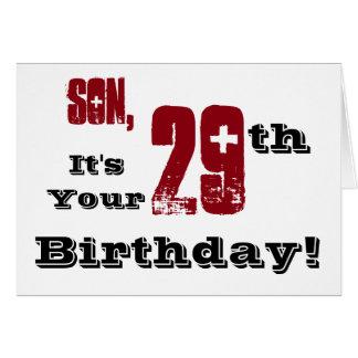 Cartão Cumprimento do aniversário do filho 29o em preto,