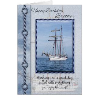 Cartão Cumprimento do aniversário do iate do irmão