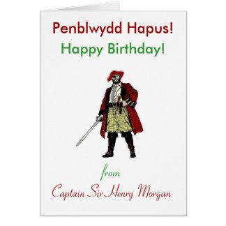 Cartão Cumprimento do aniversário do pirata de Galês