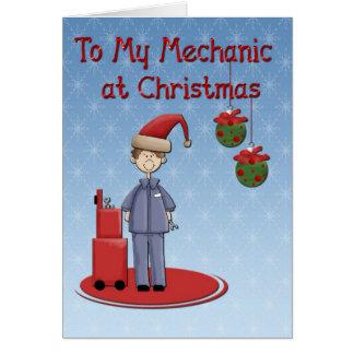 Cartão Cumprimento do mecânico do Natal