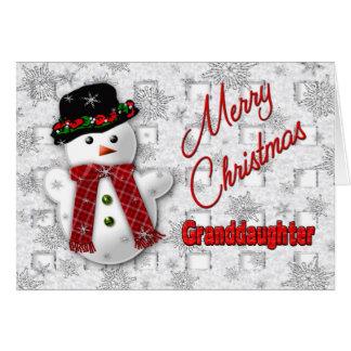 Cartão Cumprimento do Natal do boneco de neve - neta