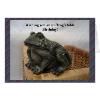 Cartão Cumprimento engraçado do aniversário do sapo
