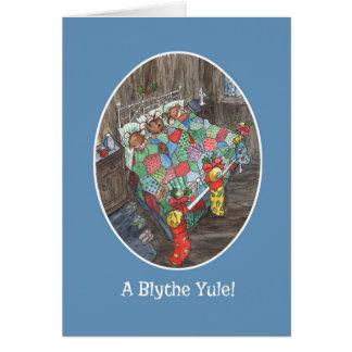 Cartão Cumprimento escocês das meias bonitos do Natal dos