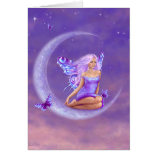 Cartão Cumprimento feericamente da borboleta da lua da