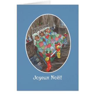 Cartão Cumprimento francês das meias bonitos do Natal dos