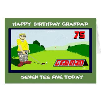 Cartão cumprimento golfing do aniversário do grandad 75th