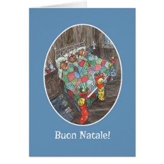 Cartão Cumprimento italiano das meias bonitos do Natal