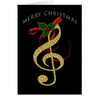 Cartão Cumprimento musical do Natal do G-Clef no preto