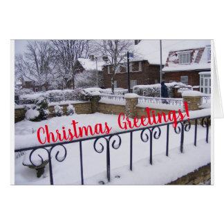 Cartão Cumprimento nevado do jardim do Natal