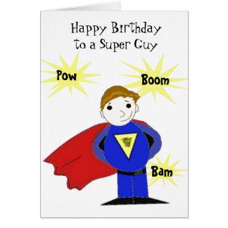 Cartão Cumprimento super do aniversário da cara