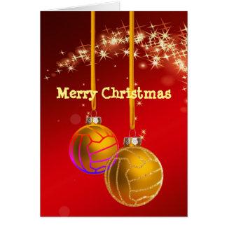 Cartão Cumprimento temático do Natal da bola do Netball