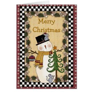 Cartão Cumprimentos C da árvore do Xmas do boneco de neve