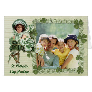 Cartão Cumprimentos cor-de-rosa da foto do irlandês