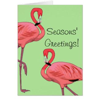 Cartão Cumprimentos cor-de-rosa das estações dos