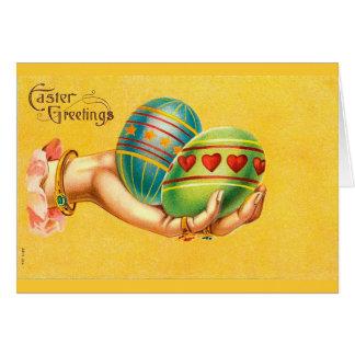 Cartão Cumprimentos da páscoa do vintage com ovos