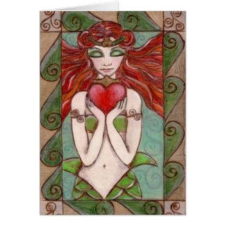 Cartão cumprimentos da sereia do claddagh