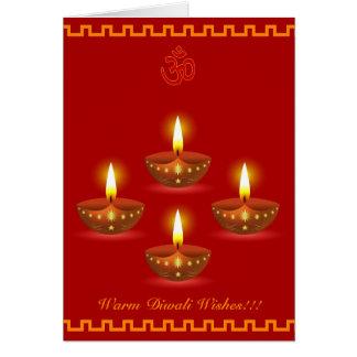 Cartão Cumprimentos de Diwali com as lâmpadas de
