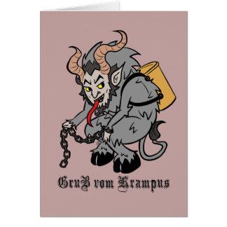 Cartão Cumprimentos de Krampus no cinza