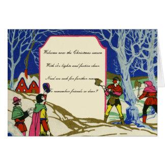 Cartão Cumprimentos de Robin Hood do Natal do Victorian