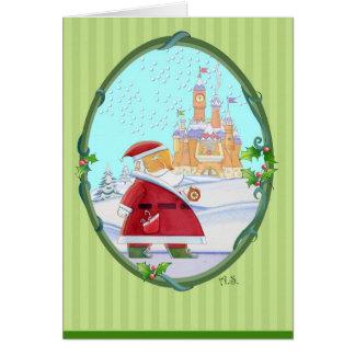 Cartão Cumprimentos do castelo do papai noel