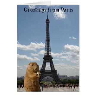 Cartão Cumprimentos do esquilo da torre Eiffel