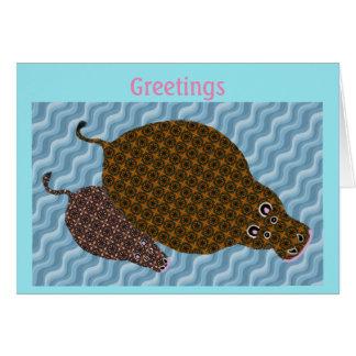 Cartão Cumprimentos do hipopótamo