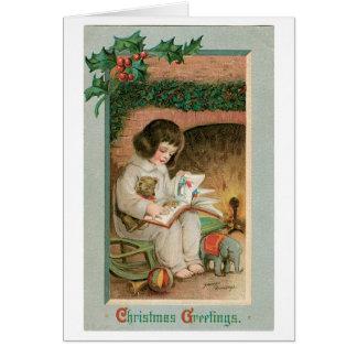 Cartão Cumprimentos do natal vintage