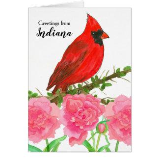 Cartão Cumprimentos do pássaro cardinal da aguarela de