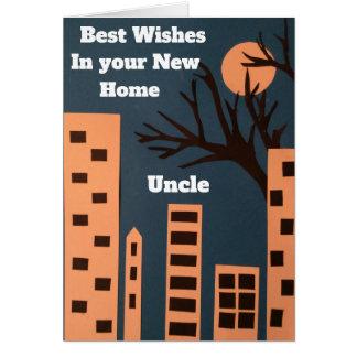 Cartão Cumprimentos em seu tio home novo