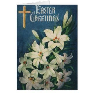 Cartão Cumprimentos religiosos da páscoa do vintage,