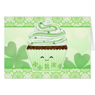 Cartão Cupcake bonito do Dia de São Patrício do kawaii