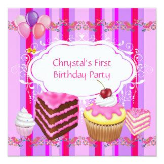 Cartão Cupcake cor-de-rosa dos doces dos primeiros partys