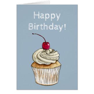 Cartão Cupcake da aguarela com chantiliy e cereja